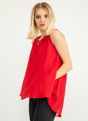 Foremia Yaka Aksesuarlı Şifon Bluz Kırmızı